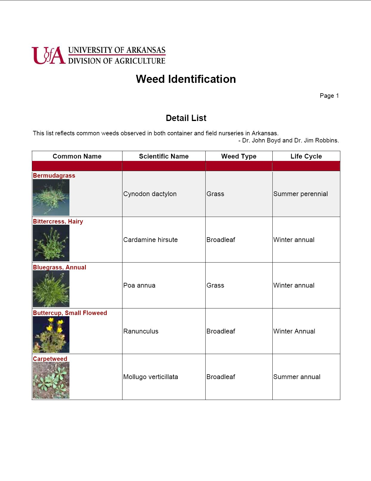 Weed Identification List - Horticulture - Nursery Production